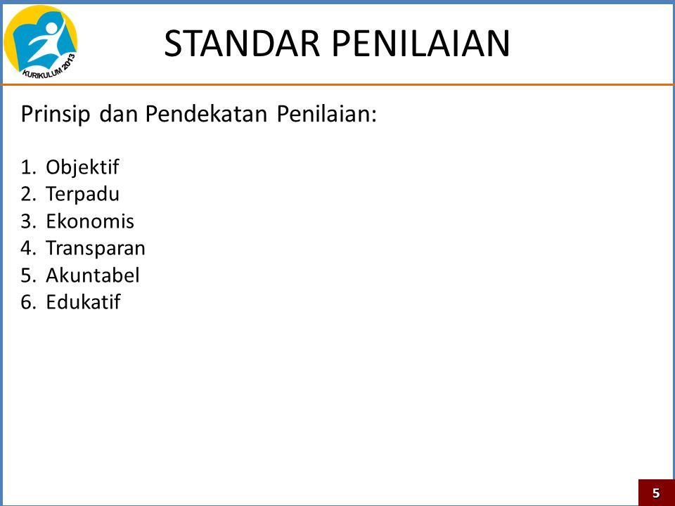 STANDAR PENILAIAN 1.Objektif 2.Terpadu 3.Ekonomis 4.Transparan 5.Akuntabel 6.Edukatif Prinsip dan Pendekatan Penilaian: 5