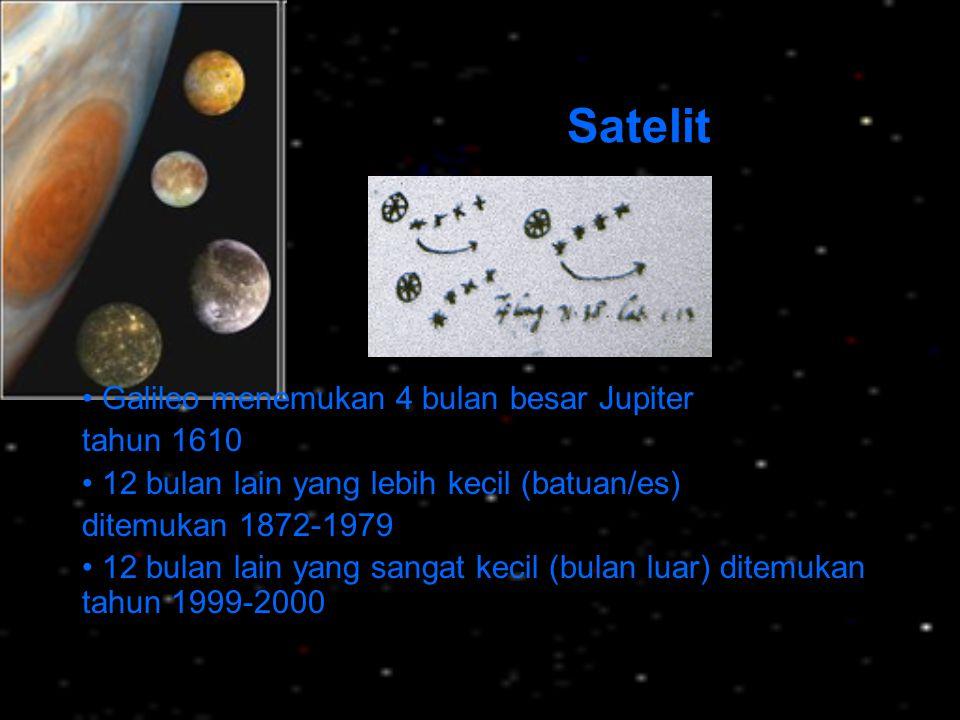 Satelit Galileo menemukan 4 bulan besar Jupiter tahun 1610 12 bulan lain yang lebih kecil (batuan/es) ditemukan 1872-1979 12 bulan lain yang sangat ke