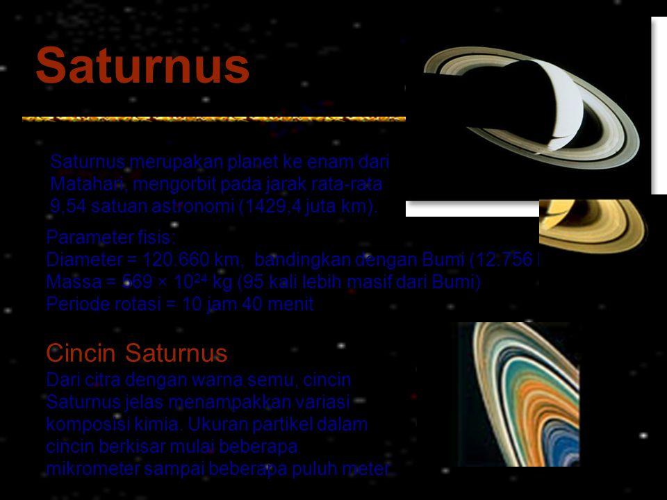 Saturnus Saturnus merupakan planet ke enam dari Matahari, mengorbit pada jarak rata-rata 9,54 satuan astronomi (1429,4 juta km). Parameter fisis: Diam