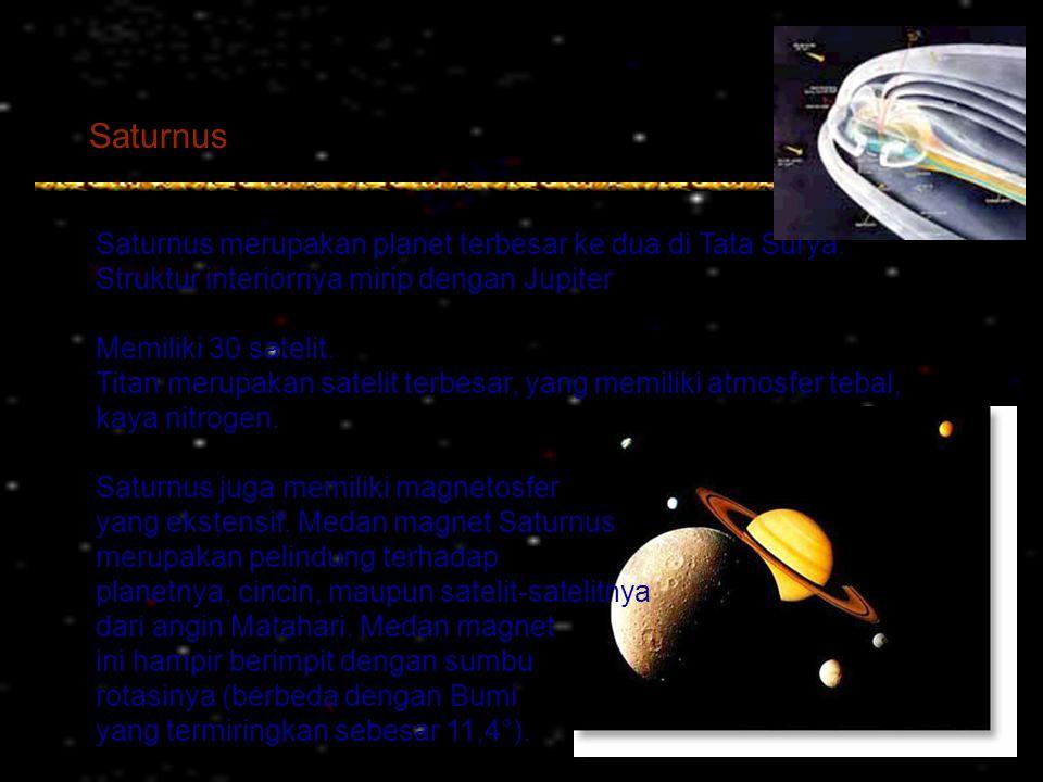 Saturnus Saturnus merupakan planet terbesar ke dua di Tata Surya. Struktur interiornya mirip dengan Jupiter Memiliki 30 satelit. Titan merupakan satel
