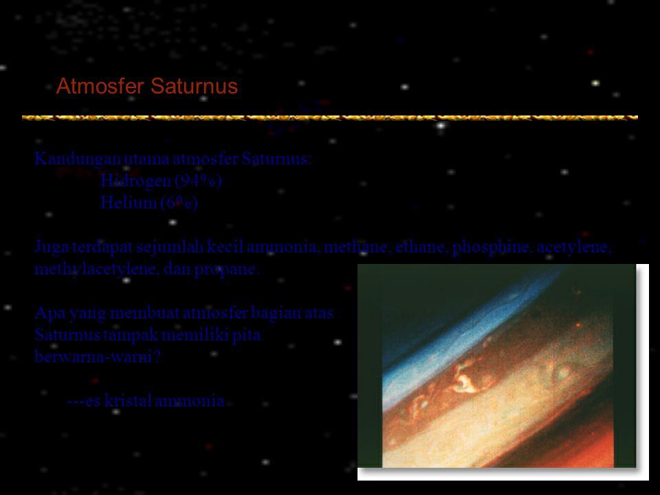 Atmosfer Saturnus Kandungan utama atmosfer Saturnus: Hidrogen (94%) Helium (6%) Juga terdapat sejumlah kecil ammonia, methane, ethane, phosphine, acet
