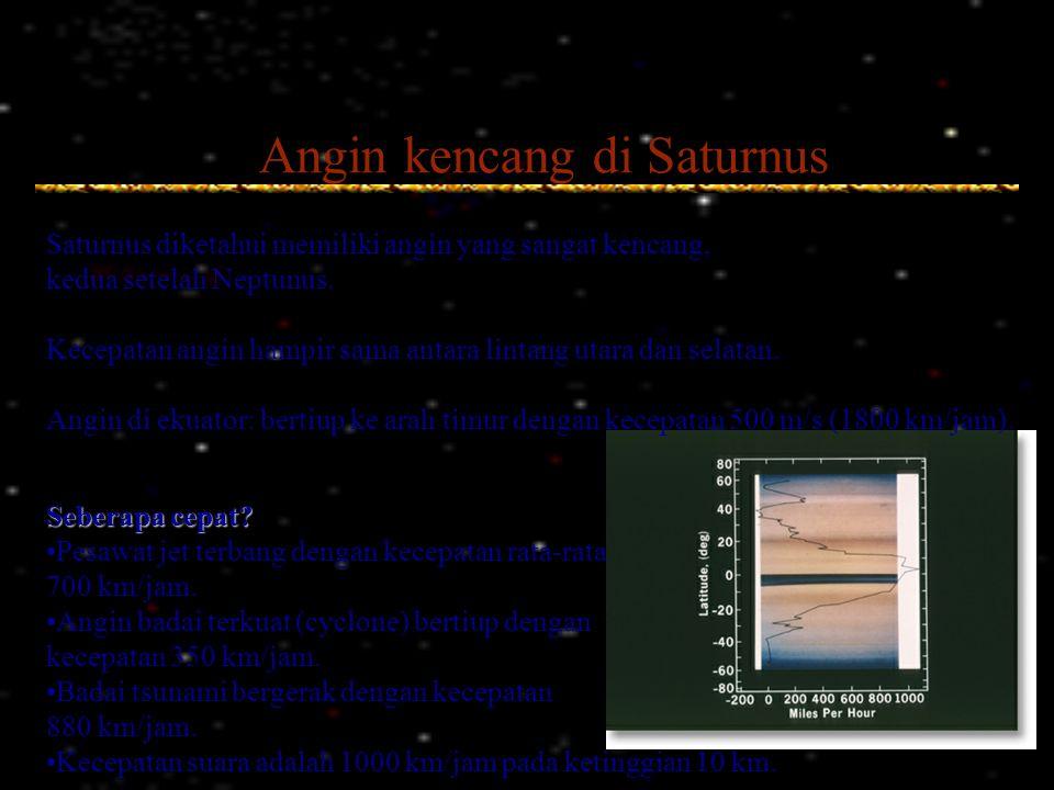 Angin kencang di Saturnus Saturnus diketahui memiliki angin yang sangat kencang, kedua setelah Neptunus. Kecepatan angin hampir sama antara lintang ut