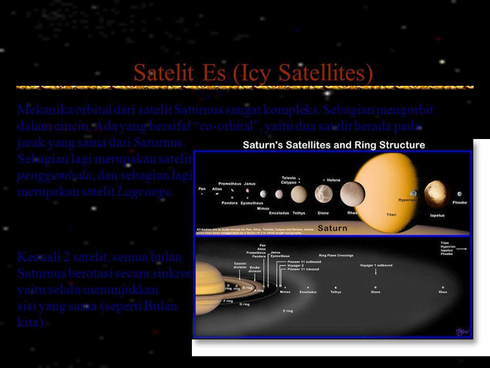 """Satelit Es (Icy Satellites) Mekanika orbital dari satelit Saturnus sangat kompleks. Sebagian mengorbit dalam cincin. Ada yang bersifat """"co-orbital"""", y"""