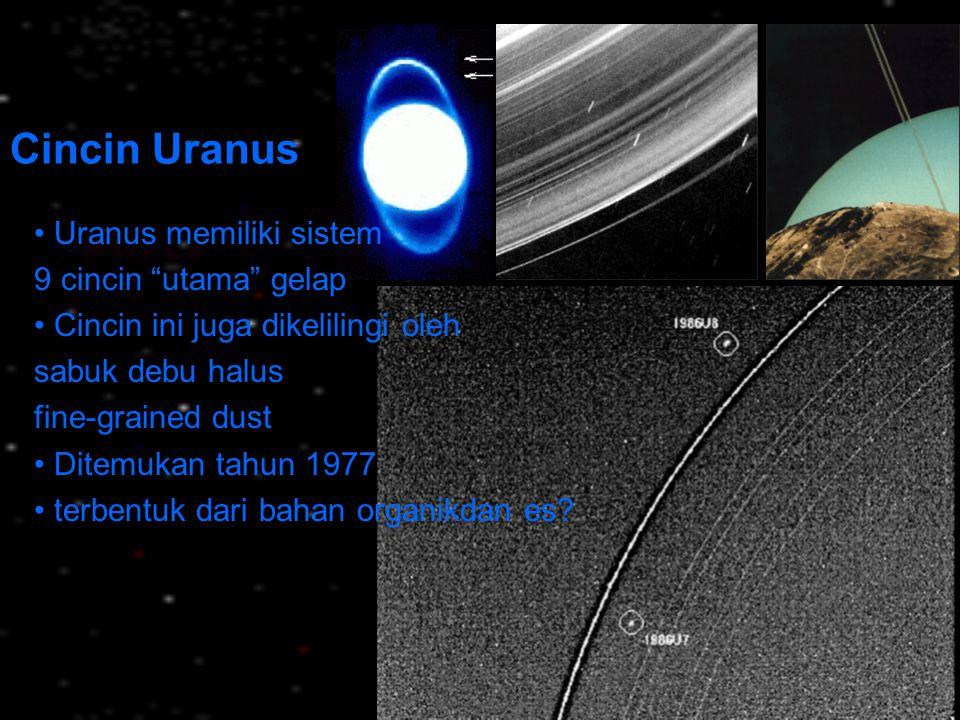 """Cincin Uranus Uranus memiliki sistem 9 cincin """"utama"""" gelap Cincin ini juga dikelilingi oleh sabuk debu halus fine-grained dust Ditemukan tahun 1977 t"""