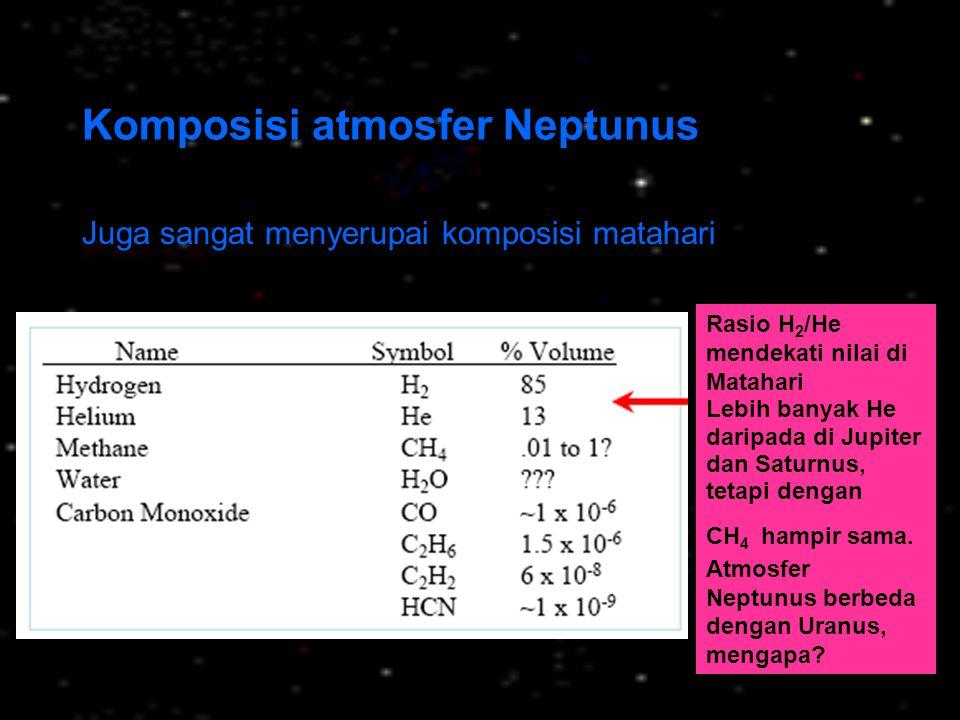 Komposisi atmosfer Neptunus Juga sangat menyerupai komposisi matahari Rasio H 2 /He mendekati nilai di Matahari Lebih banyak He daripada di Jupiter da