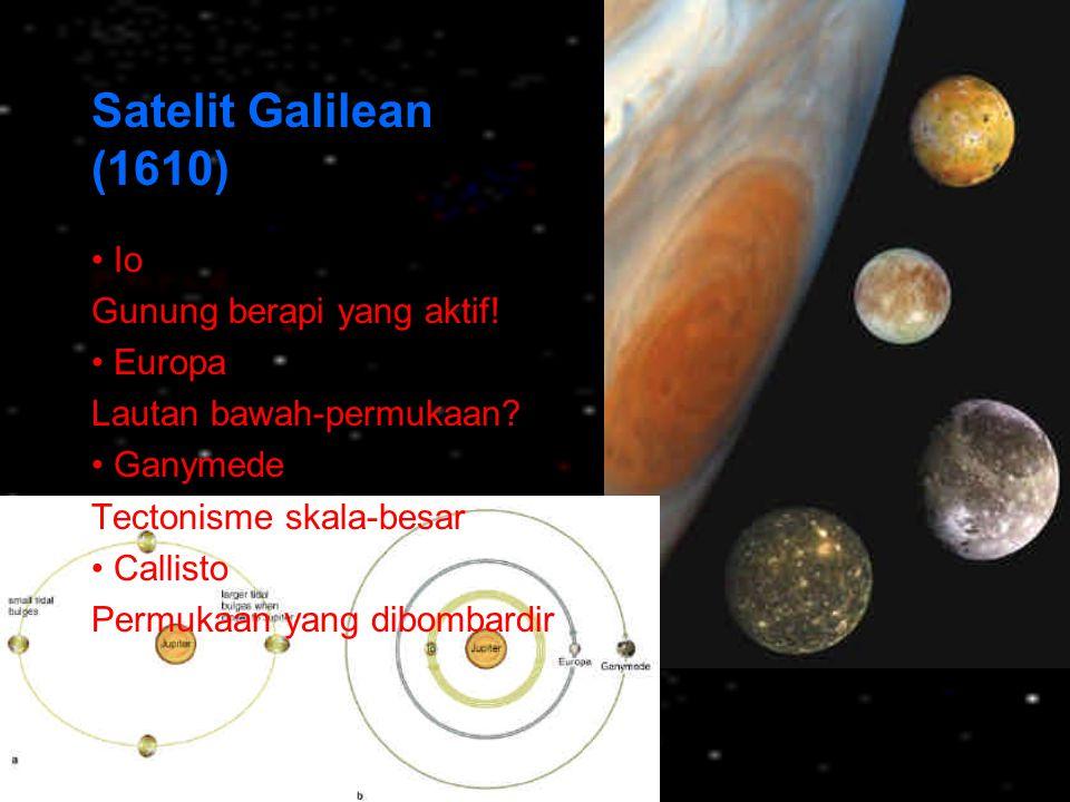 Satelit Galilean (1610) Io Gunung berapi yang aktif! Europa Lautan bawah-permukaan? Ganymede Tectonisme skala-besar Callisto Permukaan yang dibombardi
