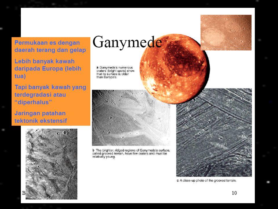 "Permukaan es dengan daerah terang dan gelap Lebih banyak kawah daripada Europa (lebih tua) Tapi banyak kawah yang terdegradasi atau ""diperhalus"" Jarin"