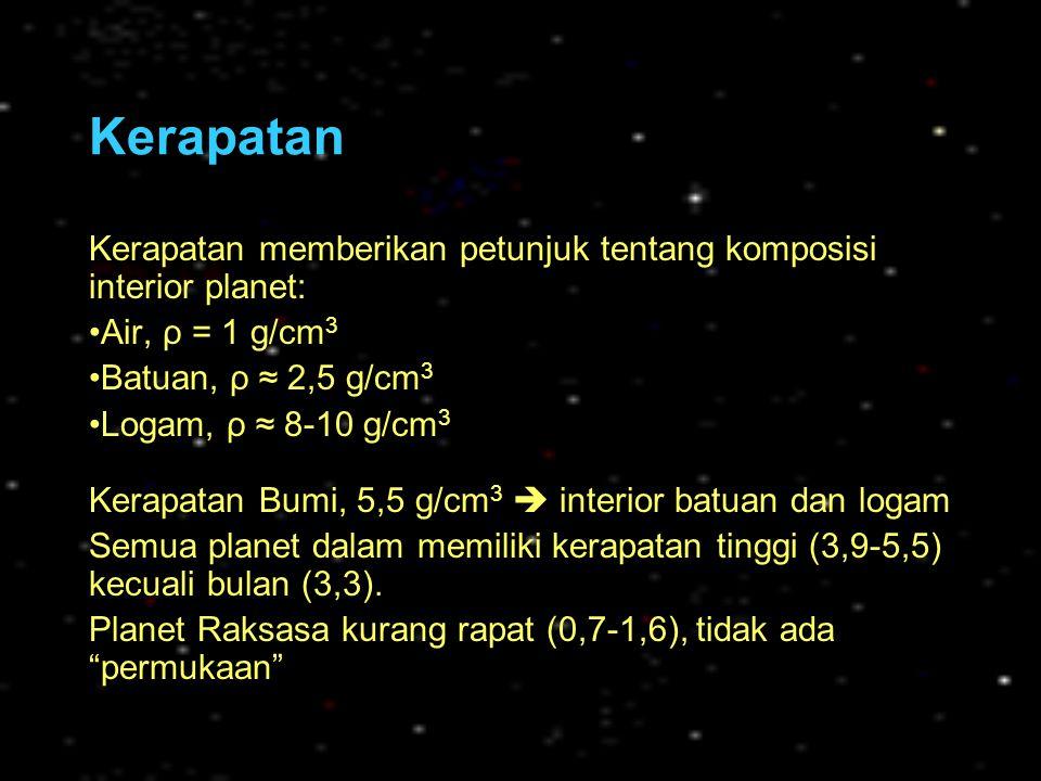 Karakteristik Planet Jovian JupiterSaturnusUranusNeptunus Jarak rata-rata dari Matahari 5,2 SA 778 juta km 9,5 SA 1430 juta km 19,2 SA 2870 juta km 30,1 SA 4500 juta km Periode orbit (tahun) 11,8629,4684,1165 Periode Rotasi (jam) ~ 10 ~ 17 (retrograde) ~ 16 Kemiringan sumbu rotasi 3.1° (tidak ada musim) 26.7°(ada musim) 98.0° (musim ekstrem) 29.0° (ada musim) Massa (kg)1,9 X 10 27 317 M Bumi 5,7 X 10 26 94 M Bumi 8,7 X 10 25 15 M Bumi 1,0 X 10 26 17 M Bumi Jari-jari (km)71400 11 R Bumi 60270 9,4 R Bumi 25600 4 R Bumi 24750 3,9 R Bumi Kerapatan (g/cm 3 )1,30,71,31,6 Percepatan gravitasi (m/det 2 ) 24,8 (2,5 X Bumi) 10,8 (1,07 X Bumi) 9 (0,92 X Bumi) 11,6 (1,18 X Bumi) Temperatur puncak-awan 125 K (-148 °C) 95 K (-178 °C) 60 K (-213 °C) 60 K (-213 °C)