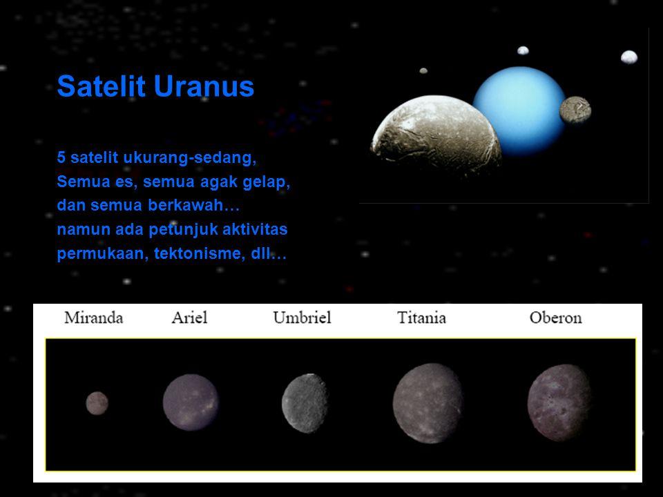 Satelit Uranus 5 satelit ukurang-sedang, Semua es, semua agak gelap, dan semua berkawah… namun ada petunjuk aktivitas permukaan, tektonisme, dll…