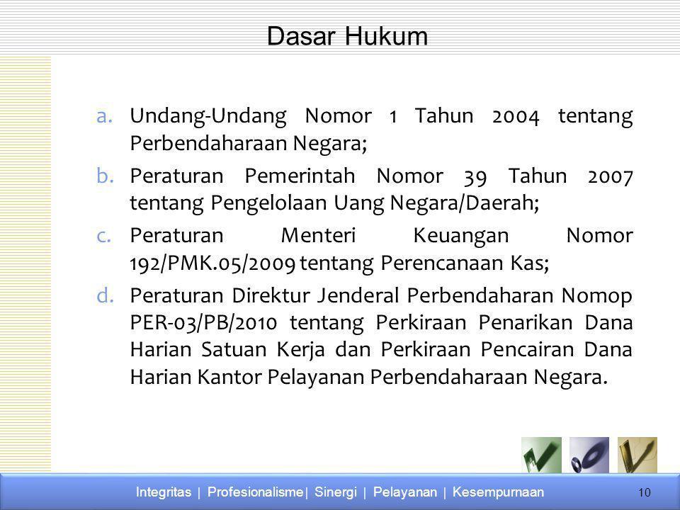 a.Undang-Undang Nomor 1 Tahun 2004 tentang Perbendaharaan Negara; b.Peraturan Pemerintah Nomor 39 Tahun 2007 tentang Pengelolaan Uang Negara/Daerah; c.Peraturan Menteri Keuangan Nomor 192/PMK.05/2009 tentang Perencanaan Kas; d.Peraturan Direktur Jenderal Perbendaharan Nomop PER-03/PB/2010 tentang Perkiraan Penarikan Dana Harian Satuan Kerja dan Perkiraan Pencairan Dana Harian Kantor Pelayanan Perbendaharaan Negara.