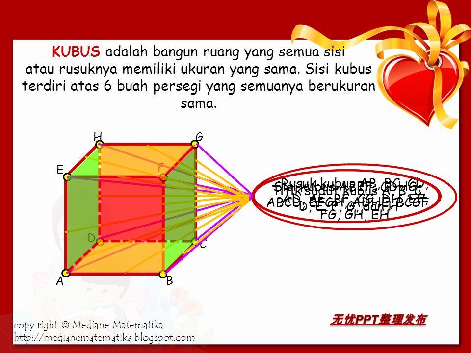 KUBUS adalah bangun ruang yang semua sisi atau rusuknya memiliki ukuran yang sama.