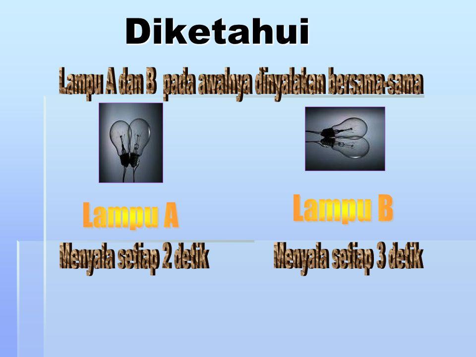 Soal Problem Solving Ada dua lampu yaitu lampu A dan B. Pada awalnya kedua lampu tersebut dinyalakan bersamaan, setelah itu lampu A menyala 2 detik se