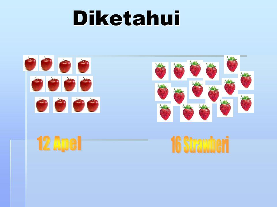 Soal Problem Solving Ibu mempunyai 12 apel dan 16 strawberi yang akan dimasukkan dalam kotak, masing-masing kotak berisi apel dan strawberi. Agar ibu