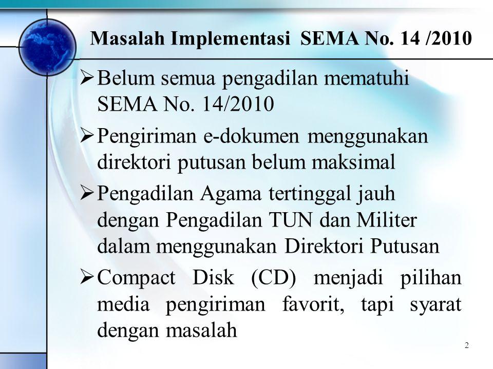 Masalah Implementasi SEMA No. 14 /2010  Belum semua pengadilan mematuhi SEMA No.