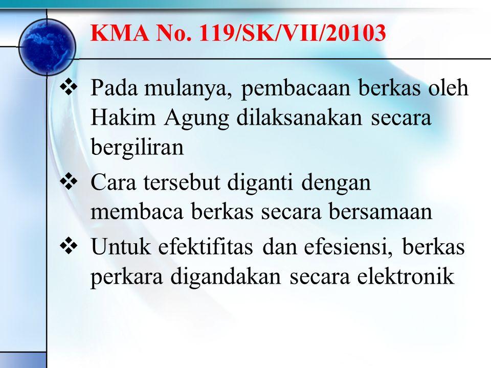  Pada mulanya, pembacaan berkas oleh Hakim Agung dilaksanakan secara bergiliran  Cara tersebut diganti dengan membaca berkas secara bersamaan  Untuk efektifitas dan efesiensi, berkas perkara digandakan secara elektronik KMA No.