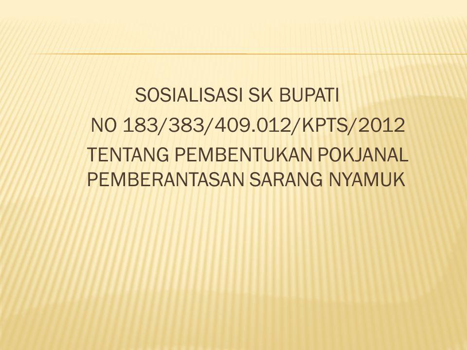 SOSIALISASI SK BUPATI NO 183/383/409.012/KPTS/2012 TENTANG PEMBENTUKAN POKJANAL PEMBERANTASAN SARANG NYAMUK