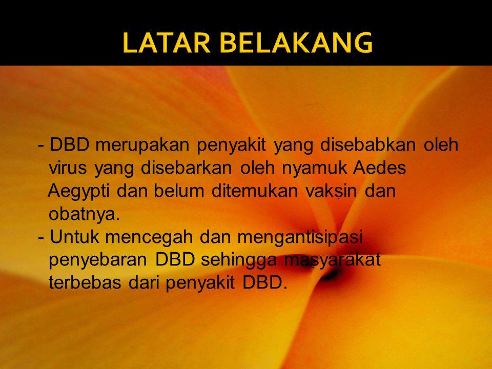 - DBD merupakan penyakit yang disebabkan oleh virus yang disebarkan oleh nyamuk Aedes Aegypti dan belum ditemukan vaksin dan obatnya. - Untuk mencegah