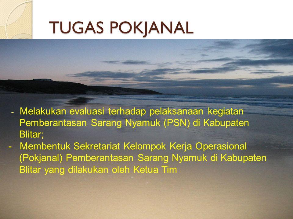 TUGAS POKJANAL - Melakukan evaluasi terhadap pelaksanaan kegiatan Pemberantasan Sarang Nyamuk (PSN) di Kabupaten Blitar; - Membentuk Sekretariat Kelom