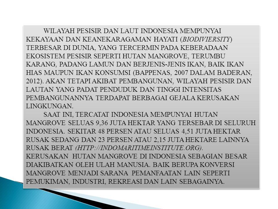 WILAYAH PESISIR DAN LAUT INDONESIA MEMPUNYAI KEKAYAAN DAN KEANEKARAGAMAN HAYATI (BIODIVIERSITY) TERBESAR DI DUNIA, YANG TERCERMIN PADA KEBERADAAN EKOS