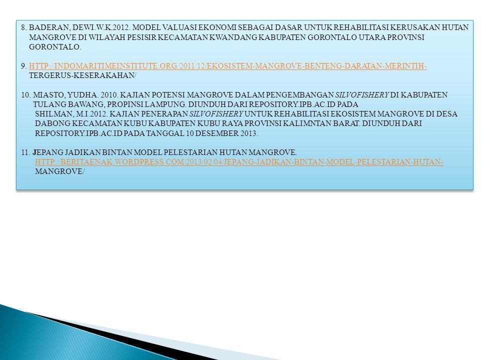 8. BADERAN, DEWI.W.K.2012. MODEL VALUASI EKONOMI SEBAGAI DASAR UNTUK REHABILITASI KERUSAKAN HUTAN MANGROVE DI WILAYAH PESISIR KECAMATAN KWANDANG KABUP
