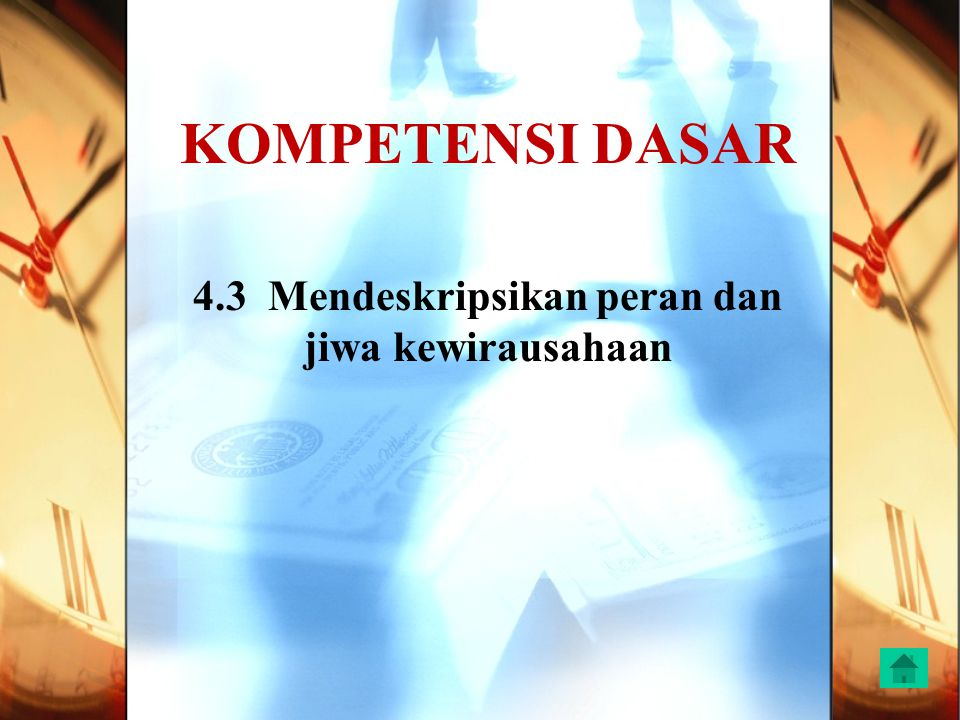 KOMPETENSI DASAR 4.3 Mendeskripsikan peran dan jiwa kewirausahaan