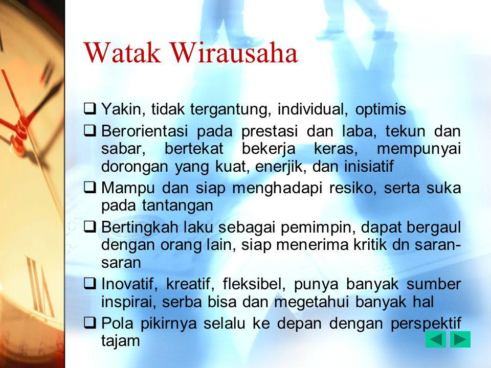 Watak Wirausaha  Yakin, tidak tergantung, individual, optimis  Berorientasi pada prestasi dan laba, tekun dan sabar, bertekat bekerja keras, mempuny