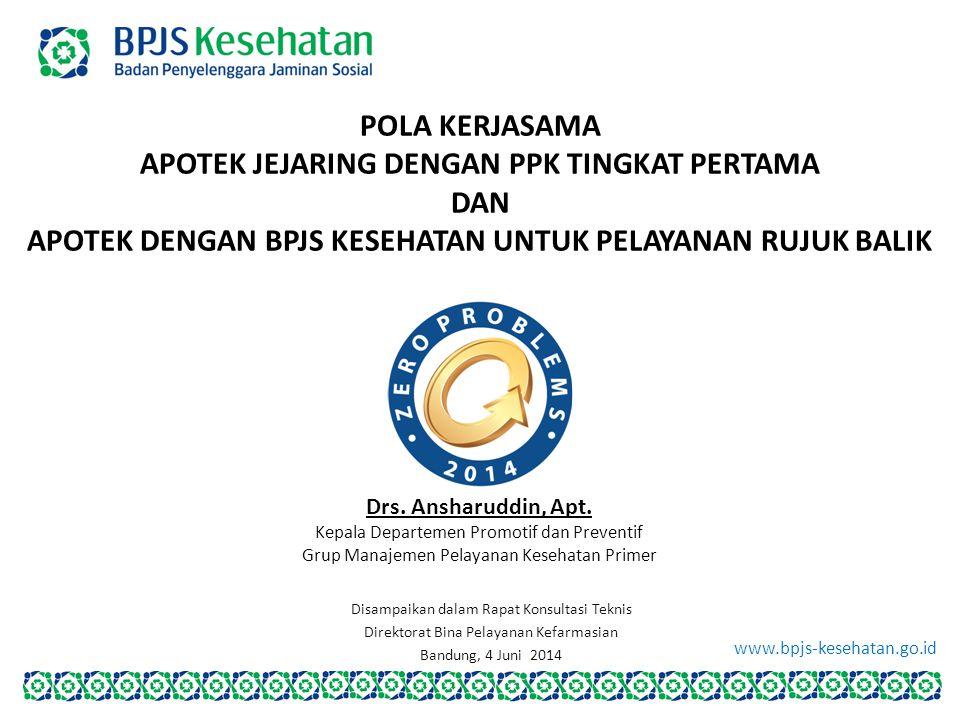 www.bpjs-kesehatan.go.id POLA KERJASAMA APOTEK JEJARING DENGAN PPK TINGKAT PERTAMA DAN APOTEK DENGAN BPJS KESEHATAN UNTUK PELAYANAN RUJUK BALIK Drs. A