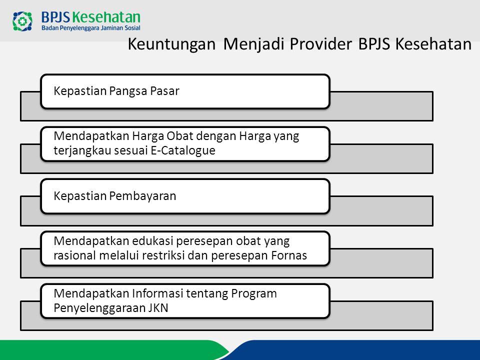 Keuntungan Menjadi Provider BPJS Kesehatan Kepastian Pangsa Pasar Mendapatkan Harga Obat dengan Harga yang terjangkau sesuai E-Catalogue Kepastian Pem