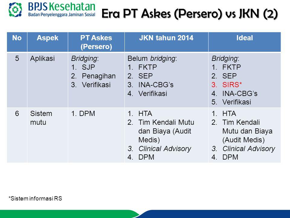 NoAspekPT Askes (Persero) JKN tahun 2014Ideal 5AplikasiBridging: 1.SJP 2.Penagihan 3.Verifikasi Belum bridging: 1.FKTP 2.SEP 3.INA-CBG's 4.Verifikasi