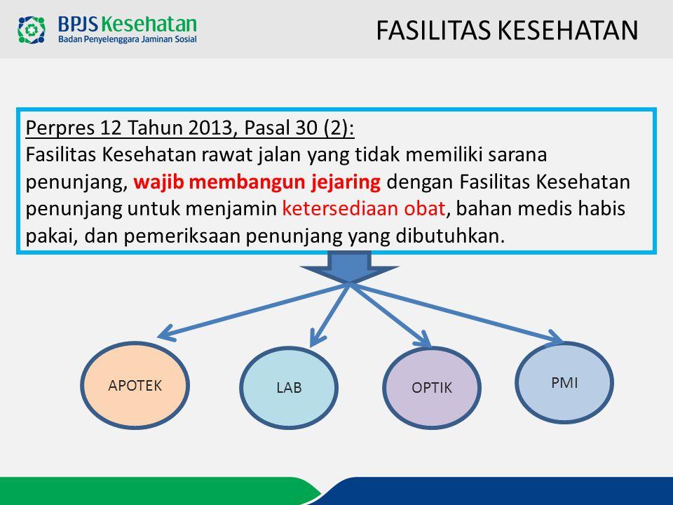 Perpres 12 Tahun 2013, Pasal 30 (2): Fasilitas Kesehatan rawat jalan yang tidak memiliki sarana penunjang, wajib membangun jejaring dengan Fasilitas K