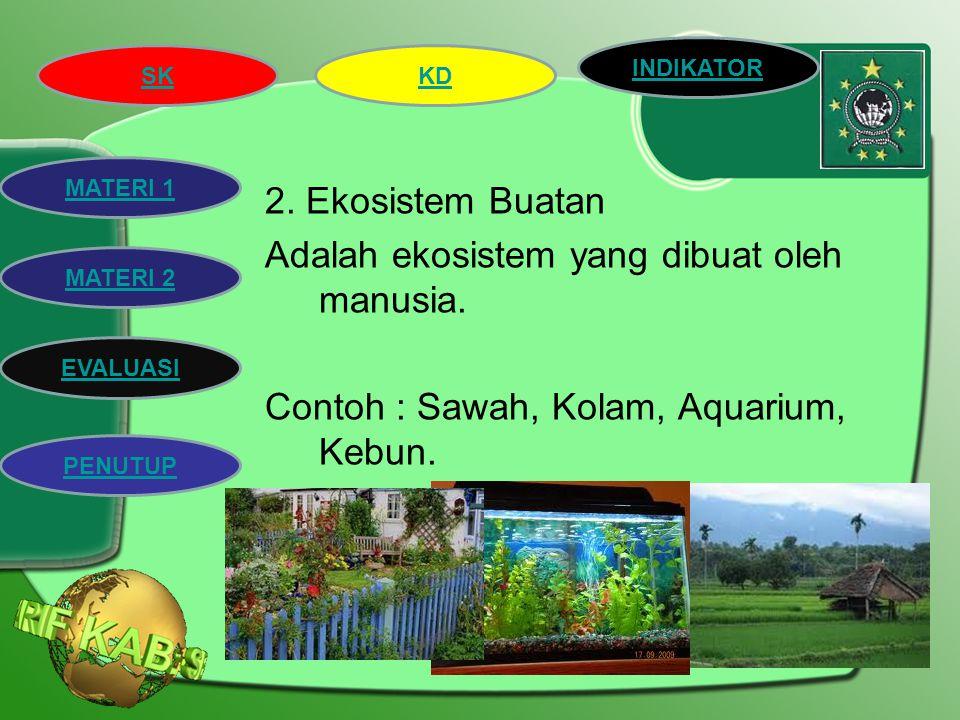 SK INDIKATOR KD MATERI 2 MATERI 1 EVALUASI PENUTUP Jenis-jenis ekosistem 1.Ekosistem Alam Adalah ekosistem yang terbentuk dengan sendirinya tanpa ada