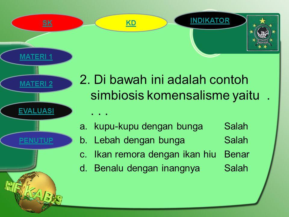 SK INDIKATOR KD MATERI 2 MATERI 1 EVALUASI PENUTUP Evaluasi 1.Hubungan yang terjadi antara kupu-kupu dengan bunga adalah simbiosis.... a.MutualismeBen