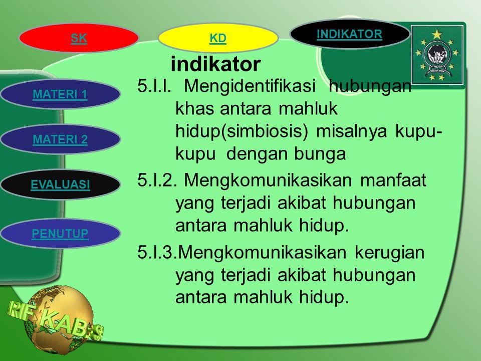 """SK INDIKATOR KD MATERI 2 MATERI 1 EVALUASI PENUTUP Kompetensi dasar : 5.1. Mengidentifikasi beberapa jenis hubungan khas (simbiosis) dan hubungan"""" mak"""