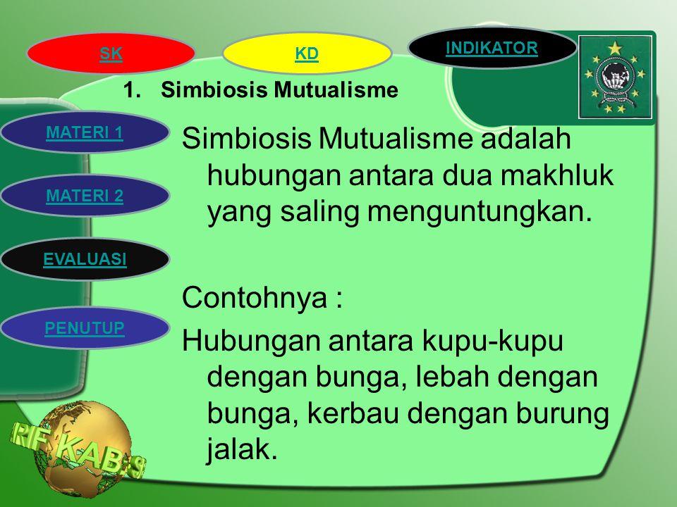 SK INDIKATOR KD MATERI 2 MATERI 1 EVALUASI PENUTUP Jenis-jenis simbiosis : 1.Simbiosis Mutualisme 2.Simbiosis Komensalisme 3.Simbiosis Parasitisme