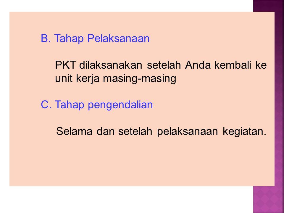B. Tahap Pelaksanaan PKT dilaksanakan setelah Anda kembali ke unit kerja masing-masing C. Tahap pengendalian Selama dan setelah pelaksanaan kegiatan.