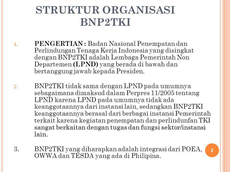 STRUKTUR ORGANISASI BNP2TKI 1. PENGERTIAN : Badan Nasional Penempatan dan Perlindungan Tenaga Kerja Indonesia yang disingkat dengan BNP2TKI adalah Lem