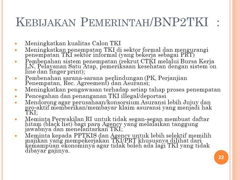 K EBIJAKAN P EMERINTAH /BNP2TKI : Meningkatkan kualitas Calon TKI Meningkatkan penempatan TKI di sektor formal dan mengurangi penempatan TKI sektor in