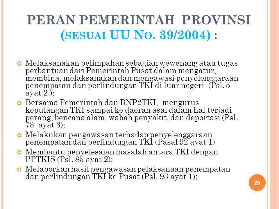 PERAN PEMERINTAH PROVINSI ( SESUAI UU N O. 39/2004) : Melaksanakan pelimpahan sebagian wewenang atau tugas perbantuan dari Pemerintah Pusat dalam meng
