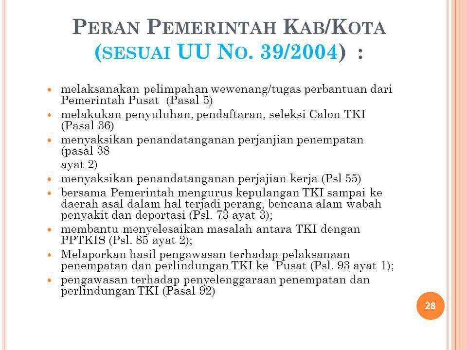 P ERAN P EMERINTAH K AB /K OTA ( SESUAI UU N O. 39/2004) : melaksanakan pelimpahan wewenang/tugas perbantuan dari Pemerintah Pusat (Pasal 5) melakukan