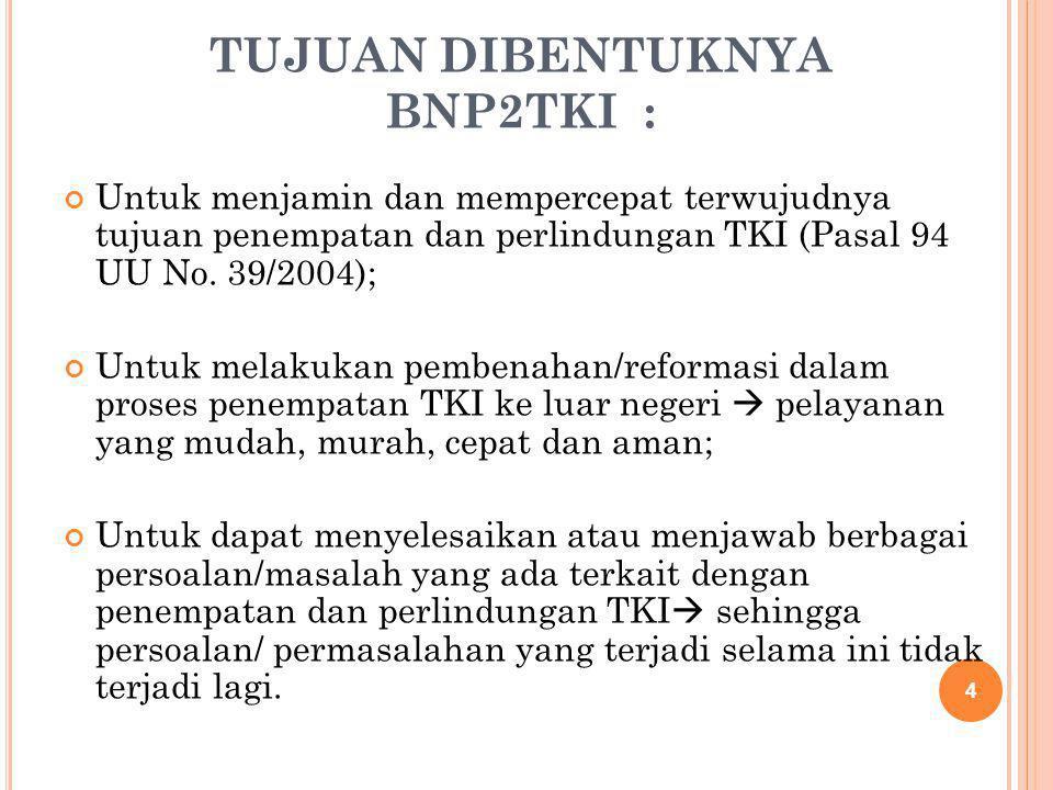 TUJUAN DIBENTUKNYA BNP2TKI : Untuk menjamin dan mempercepat terwujudnya tujuan penempatan dan perlindungan TKI (Pasal 94 UU No. 39/2004); Untuk melaku