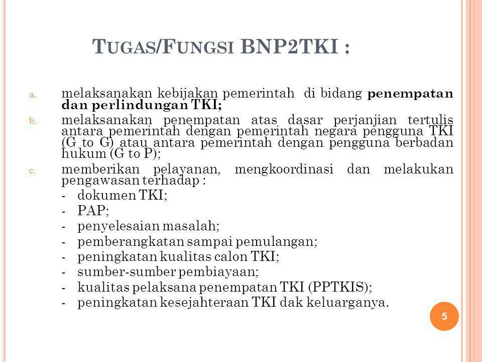 T UGAS /F UNGSI BNP2TKI : a. melaksanakan kebijakan pemerintah di bidang penempatan dan perlindungan TKI; b. melaksanakan penempatan atas dasar perjan