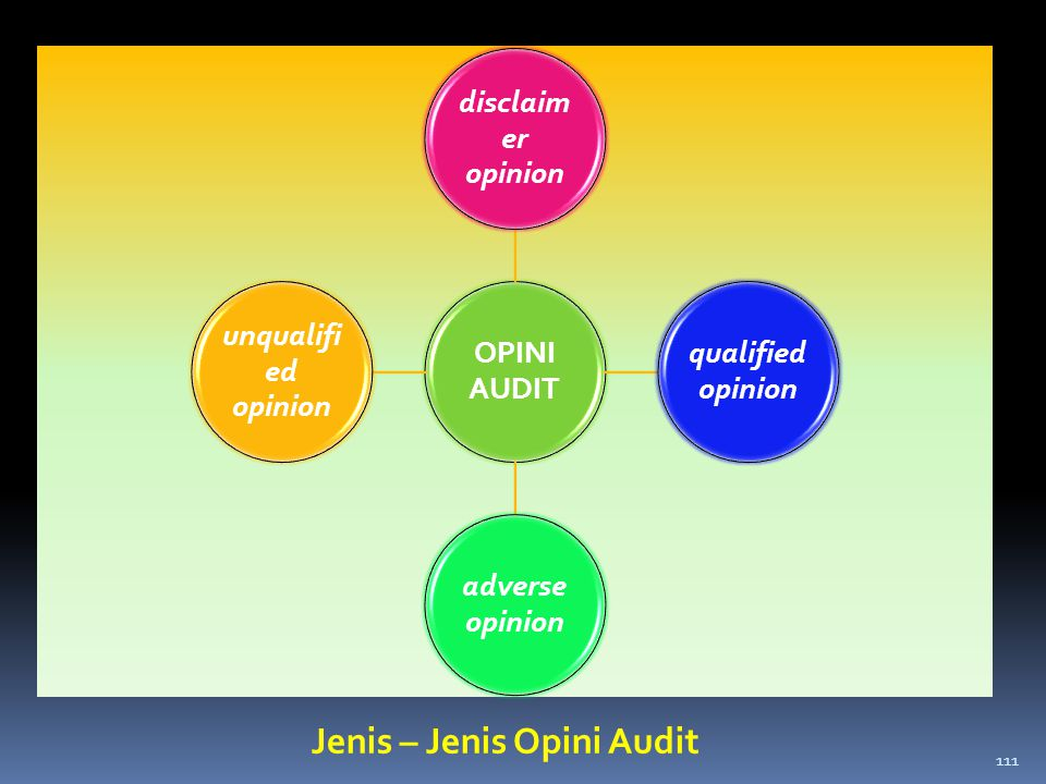 OPINI AUDIT disclaim er opinion qualified opinion adverse opinion unqualifi ed opinion Jenis – Jenis Opini Audit 111