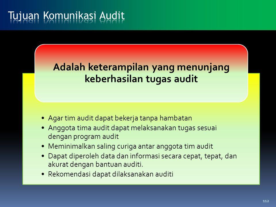 Agar tim audit dapat bekerja tanpa hambatan Anggota tima audit dapat melaksanakan tugas sesuai dengan program audit Meminimalkan saling curiga antar a