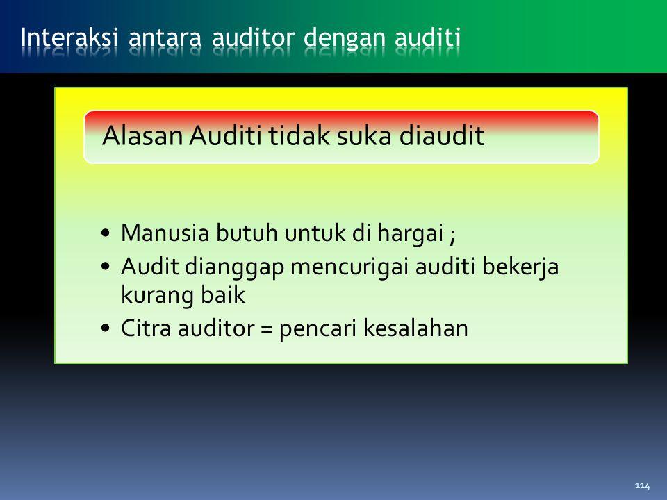 Manusia butuh untuk di hargai ; Audit dianggap mencurigai auditi bekerja kurang baik Citra auditor = pencari kesalahan Alasan Auditi tidak suka diaudi