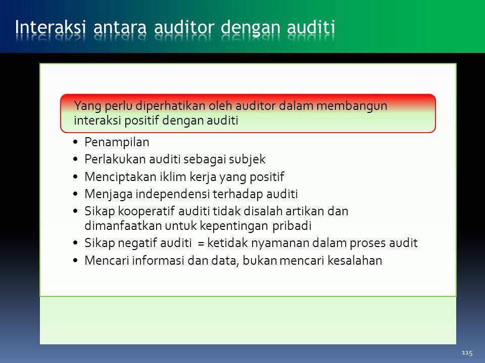 Penampilan Perlakukan auditi sebagai subjek Menciptakan iklim kerja yang positif Menjaga independensi terhadap auditi Sikap kooperatif auditi tidak di
