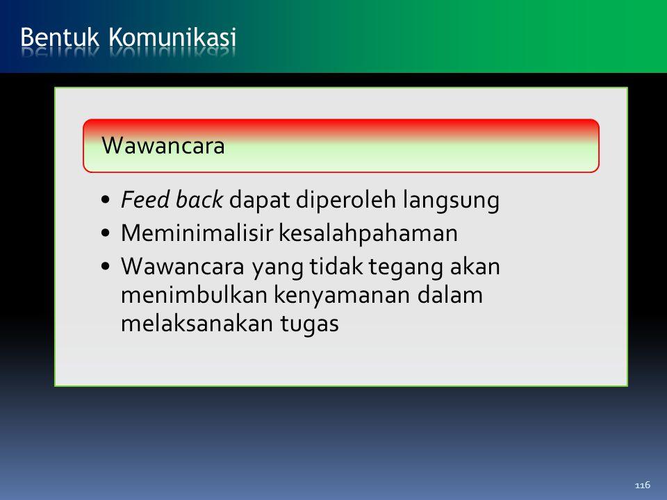 Feed back dapat diperoleh langsung Meminimalisir kesalahpahaman Wawancara yang tidak tegang akan menimbulkan kenyamanan dalam melaksanakan tugas Wawan