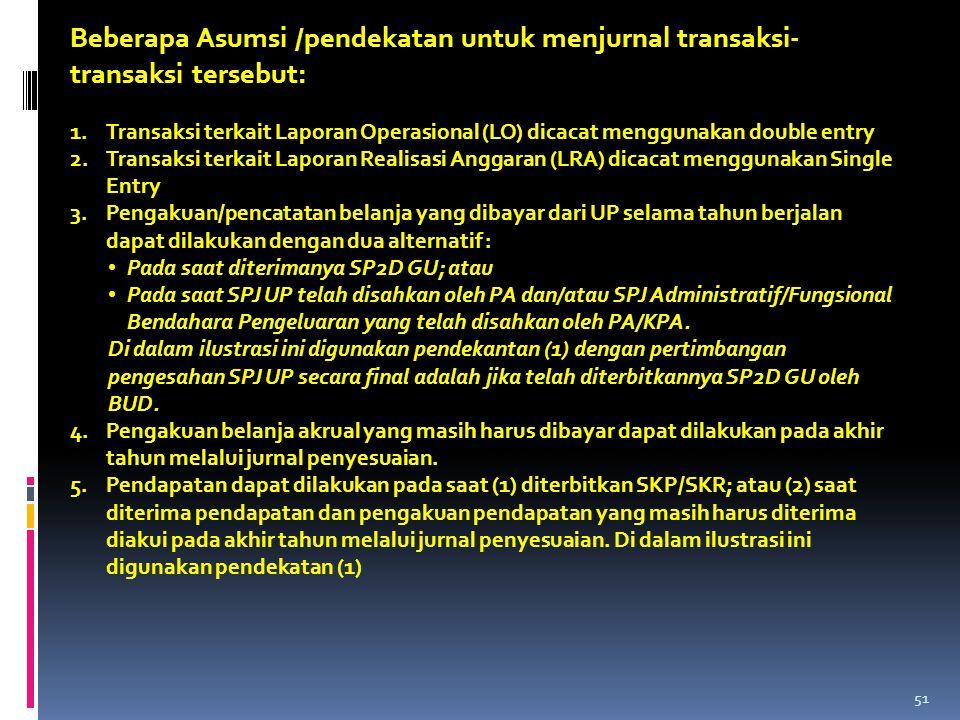 Beberapa Asumsi /pendekatan untuk menjurnal transaksi- transaksi tersebut: 1.Transaksi terkait Laporan Operasional (LO) dicacat menggunakan double ent