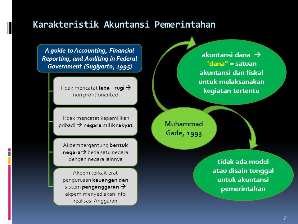 Karakteristik Akuntansi Pemerintahan A guide to Accounting, Financial Reporting, and Auditing in Federal Government (Sugiyarto, 1995) Tidak mencatat l