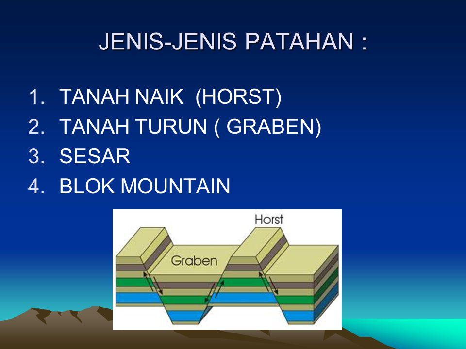 JENIS-JENIS PATAHAN : 1.TANAH NAIK (HORST) 2.TANAH TURUN ( GRABEN) 3.SESAR 4.BLOK MOUNTAIN