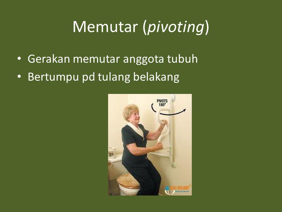 Memutar (pivoting) Gerakan memutar anggota tubuh Bertumpu pd tulang belakang